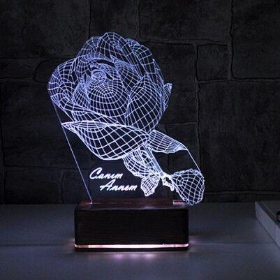 - Kişiye Özel Gül Motifli 3D LED Lamba