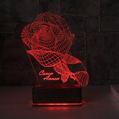 Kişiye Özel Gül Motifli 3D LED Lamba - Thumbnail