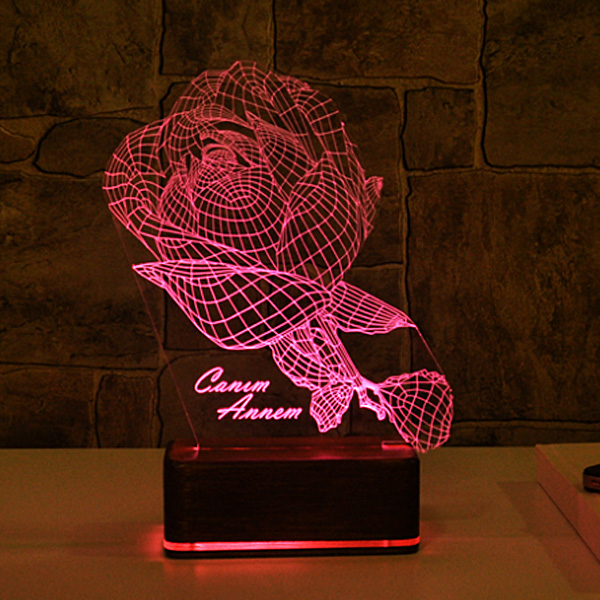 Kişiye Özel Gül Motifli 3D LED Lamba