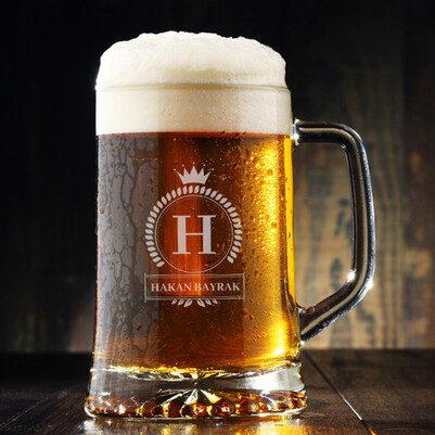 - Kişiye Özel Harfli ve İsimli Bira Bardağı