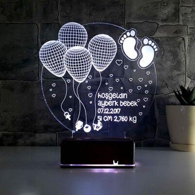- Kişiye Özel Hoşgeldin Bebeğim 3D Led Lamba