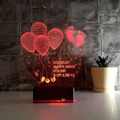 Kişiye Özel Hoşgeldin Bebeğim 3D Led Lamba - Thumbnail