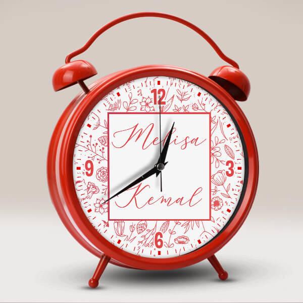 Kişiye Özel İki İsimli Saat Kırmızı