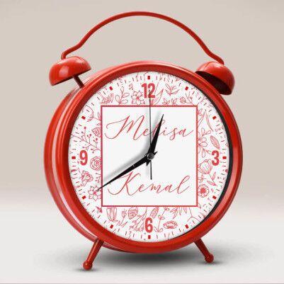- Kişiye Özel İki İsimli Saat Kırmızı