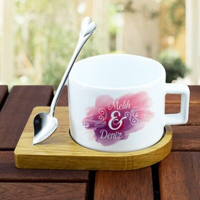 - Kişiye Özel İki İsimli Kaşıklı Çay Fincanı