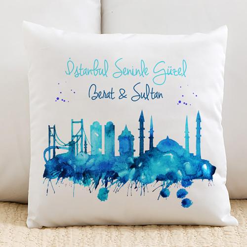 Kişiye Özel İstanbul Seninle Güzel Yastık