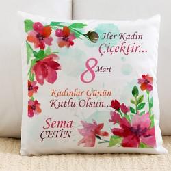 Kişiye Özel Kadınlar Çiçektir Yastık - Thumbnail