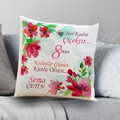 - Kişiye Özel Kadınlar Çiçektir Yastık