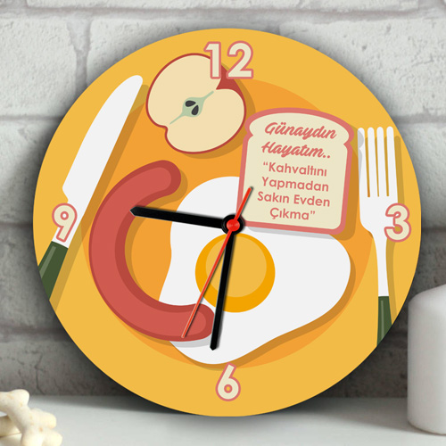 Kişiye Özel Kahvaltı Tabağı Duvar Saati