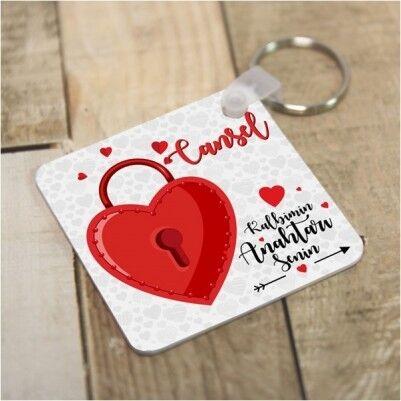 Kişiye Özel Kalbimin Anahtarı Anahtarlık - Thumbnail