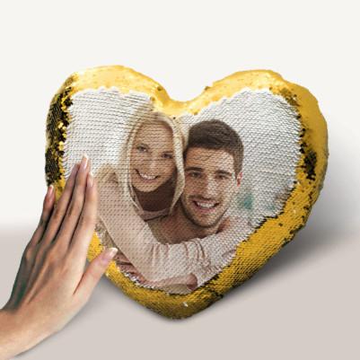 - Kişiye Özel Kalp Sihirli Yastık Gold