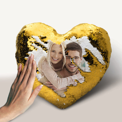 Kişiye Özel Kalp Sihirli Yastık Gold - Thumbnail