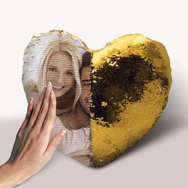 Kişiye Özel Kalp Sihirli Yastık Gold