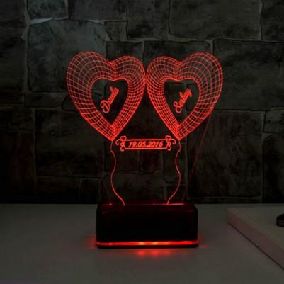 Kişiye Özel Kalp Tasarımlı 3D LED Lamba - Thumbnail