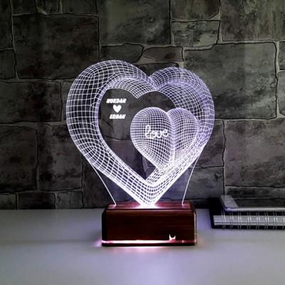 - Kişiye Özel Kalpli 3 Boyutlu LED Lamba