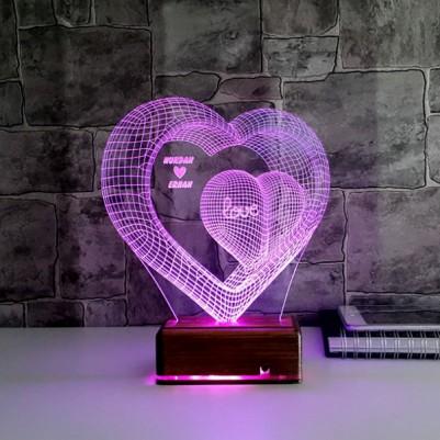 Kişiye Özel Kalpli 3 Boyutlu LED Lamba - Thumbnail