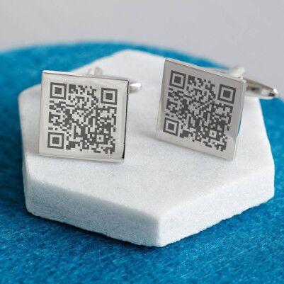 Kişiye Özel Kare Kod Kol Düğmeleri - Thumbnail