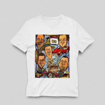 Kişiye Özel Karikatür Baskılı Bayan Tişört - Thumbnail