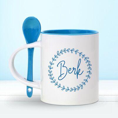 - Kişiye Özel Kaşıklı Mavi Kupa Bardak