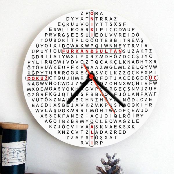 Kişiye Özel Kelime Bulmaca Duvar Saati