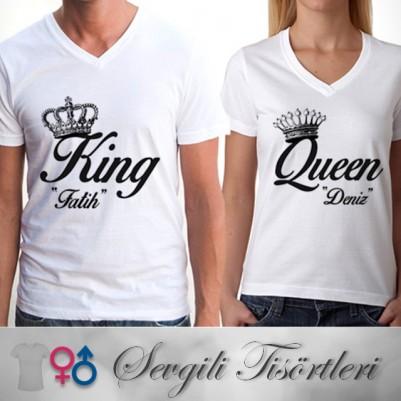 Kişiye Özel King And Queen Tişörtü - Thumbnail