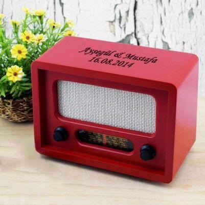 Kişiye Özel Kırmızı Renk Ahşap Radyo - Thumbnail