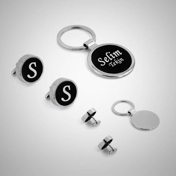 Kişiye Özel Kol Düğmeleri ve Anahtarlık Hediye Seti