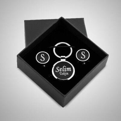 Kişiye Özel Kol Düğmeleri ve Anahtarlık Hediye Seti - Thumbnail