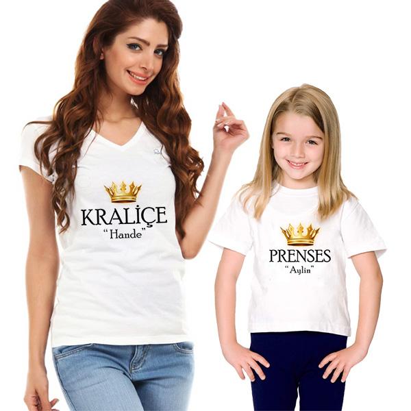 Kişiye Özel Kraliçe ve Prenses 2'li Tişörtleri