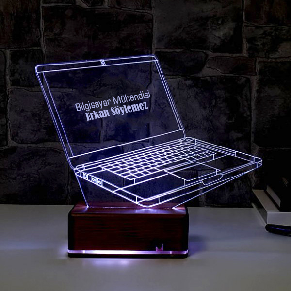 Kişiye Özel Laptop 3D LED Lamba