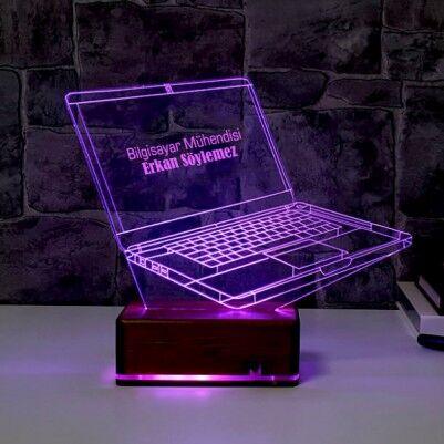 Kişiye Özel Laptop 3D LED Lamba - Thumbnail