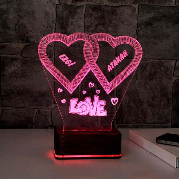 Kişiye Özel Love Temalı 3D Led Lamba