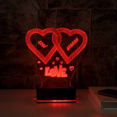 Kişiye Özel Love Temalı 3D Led Lamba - Thumbnail