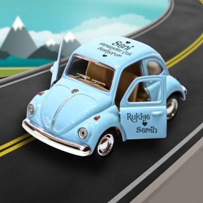 Kişiye Özel Mavi Vosvos Oyuncak Araba - Thumbnail