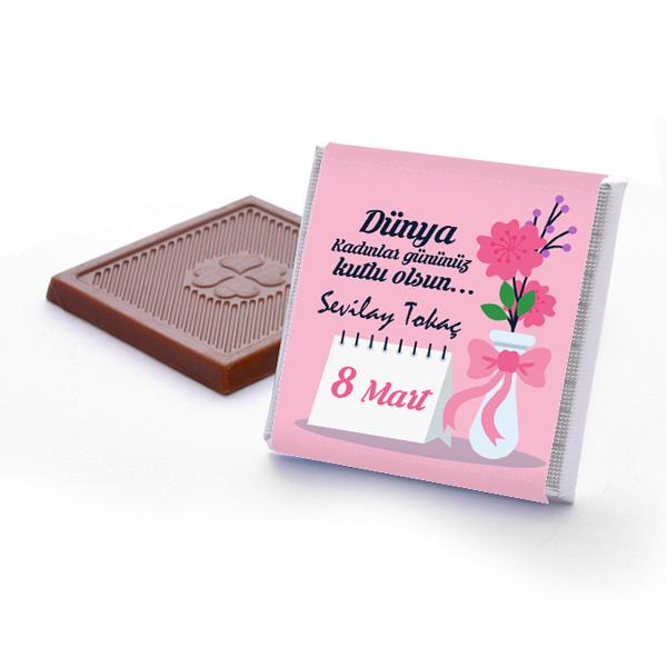 Kişiye Özel Mesajlı Kadınlar Günü Çikolatası