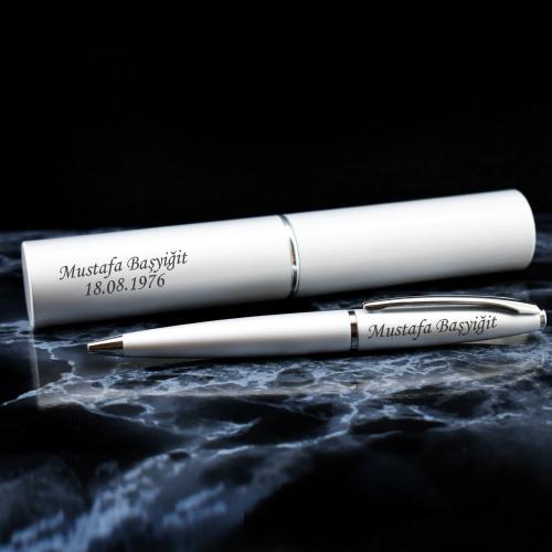 Kişiye Özel Metalik Gümüş Rengi Kalem
