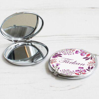 - Kişiye Özel Mor Çiçekler Makyaj Aynası