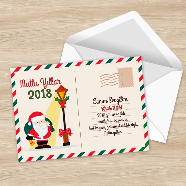 Kişiye Özel Mutlu Yıllar Posta Kartı