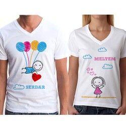 Kişiye Özel Mutluluğun Resmi Sevgili Tişörtleri - Thumbnail