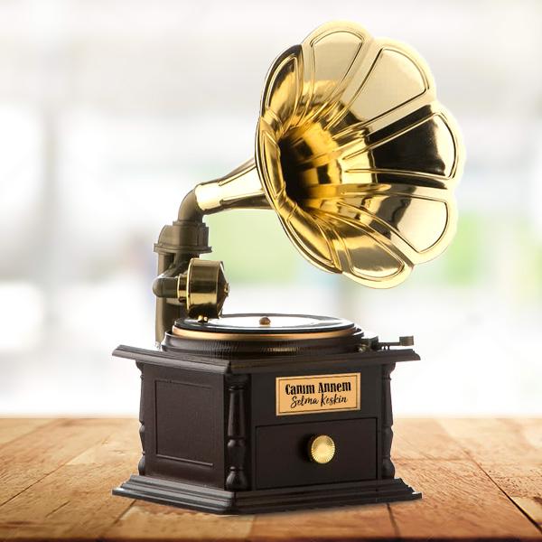 Kişiye Özel Nostalji Gramofon Müzik Kutusu
