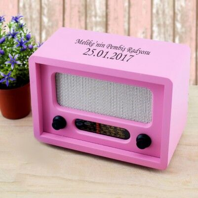 - Kişiye Özel Nostaljik Pembe Ahşap Radyo