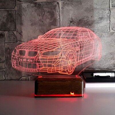 Kişiye Özel Plakalı Spor Araba 3D Lamba - Thumbnail