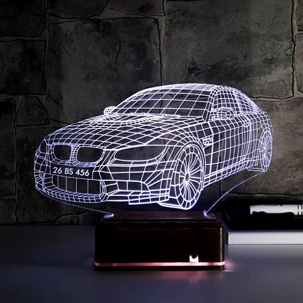 Kişiye Özel Plakalı Spor Araba 3D Lamba