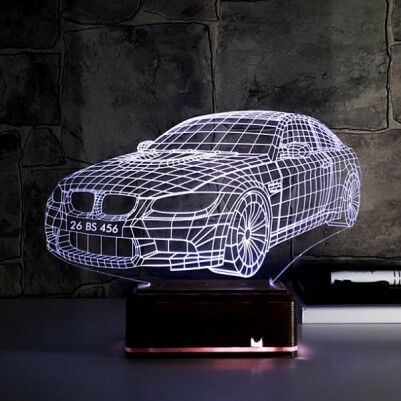 - Kişiye Özel Plakalı Spor Araba 3D Lamba