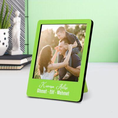Kişiye Özel Polaroid Resim Çerçevesi Yeşil - Thumbnail