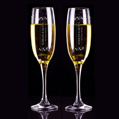 - Kişiye Özel Premium 2'li Şampanya Kadehi