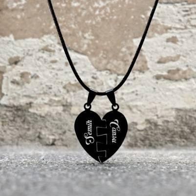 Kişiye Özel Puzzle Kalp Kolye