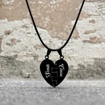 Kişiye Özel Puzzle Kalp Kolye - Thumbnail