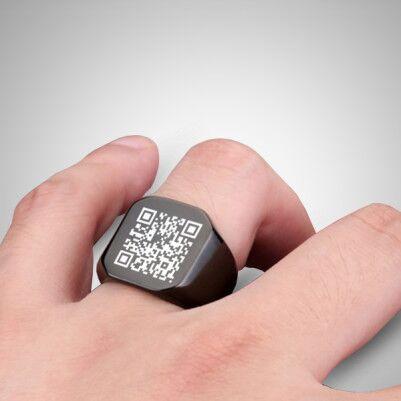 Kişiye Özel QR Code Erkek Yüzüğü - Thumbnail