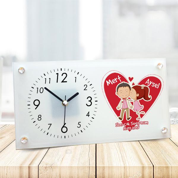 Kişiye Özel Romantik Aşıklar Cam Masa Saati